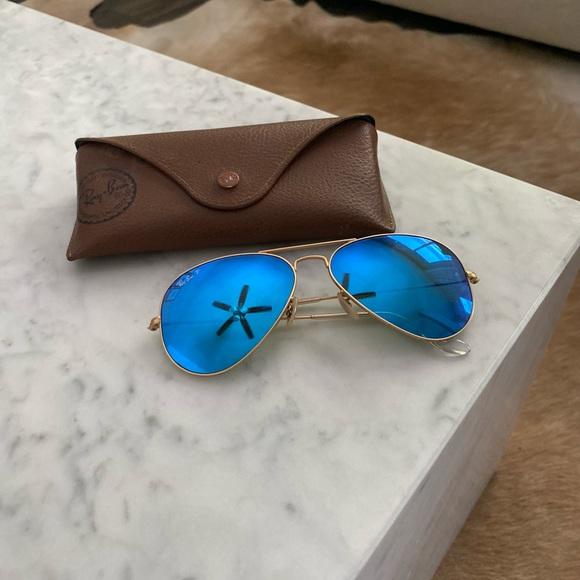 Ray-Ban polarized aviator flash sun glasses